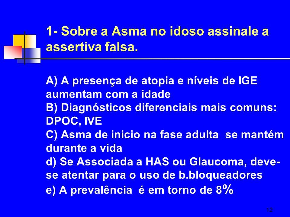 1- Sobre a Asma no idoso assinale a assertiva falsa
