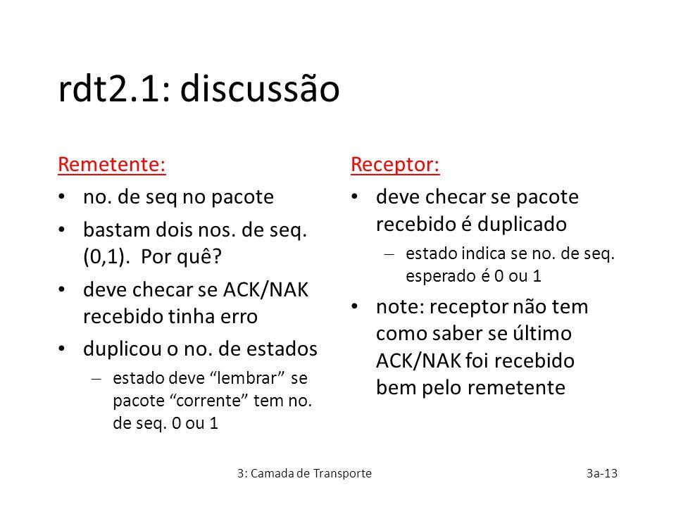 rdt2.1: discussão Remetente: no. de seq no pacote