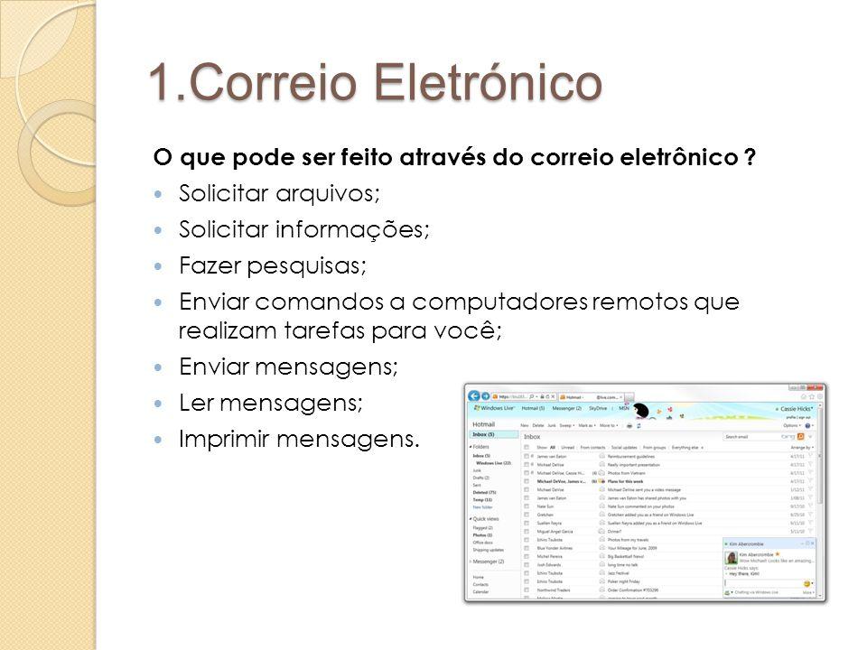 1.Correio Eletrónico O que pode ser feito através do correio eletrônico Solicitar arquivos; Solicitar informações;