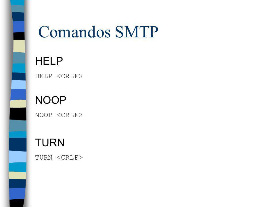 Comandos SMTP HELP NOOP TURN HELP <CRLF> NOOP <CRLF>