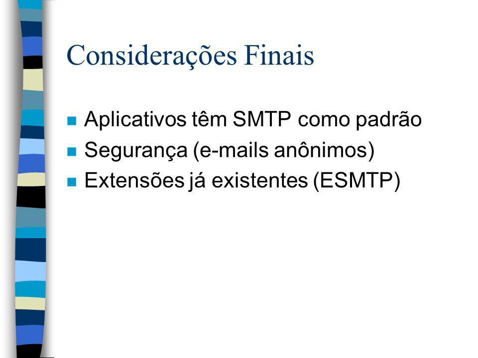 Considerações Finais Aplicativos têm SMTP como padrão
