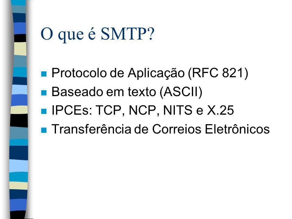 O que é SMTP Protocolo de Aplicação (RFC 821)