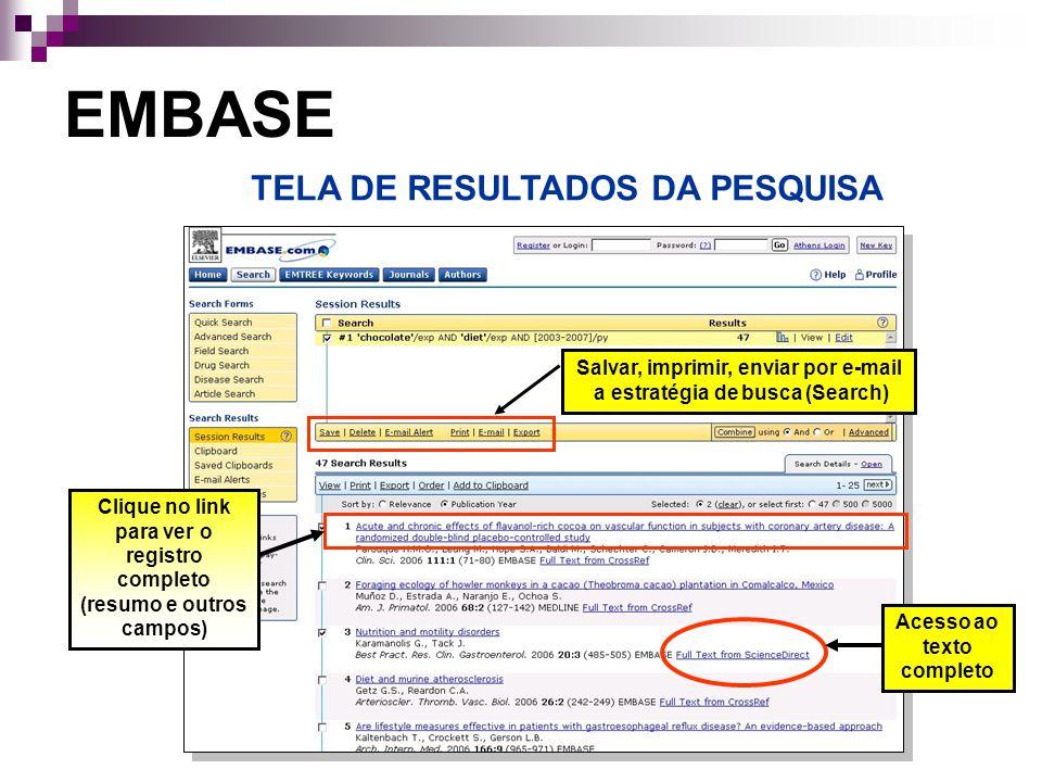 EMBASE TELA DE RESULTADOS DA PESQUISA