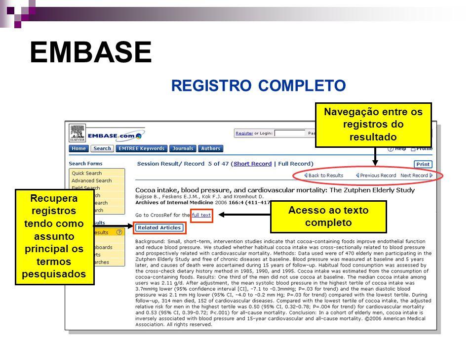 EMBASE REGISTRO COMPLETO Navegação entre os registros do resultado