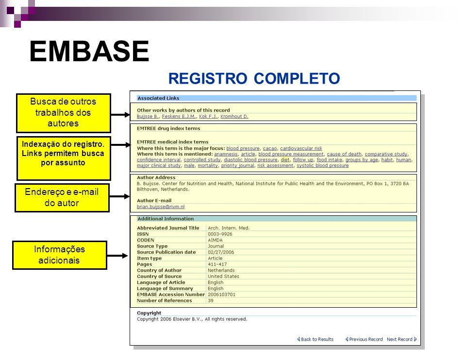 Indexação do registro. Links permitem busca por assunto