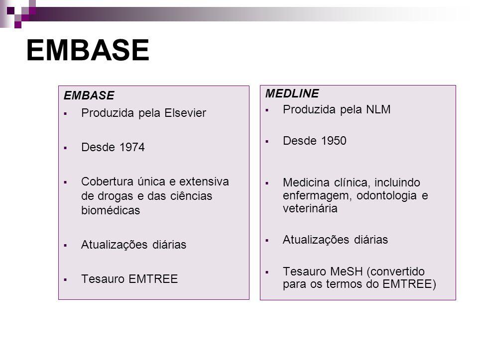 EMBASE EMBASE MEDLINE Produzida pela Elsevier Produzida pela NLM