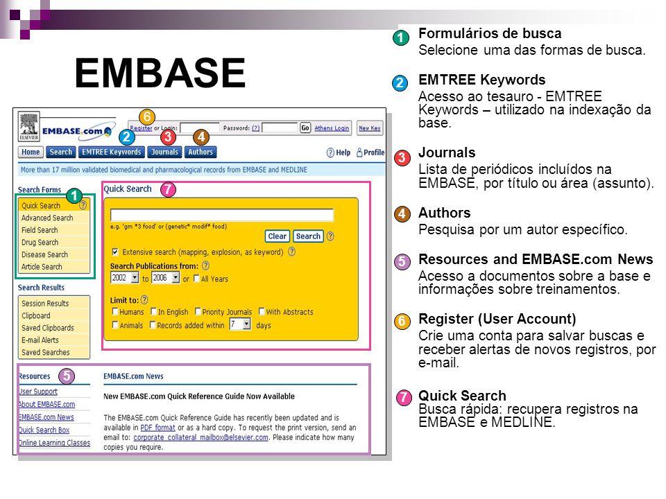 EMBASE Formulários de busca Selecione uma das formas de busca.