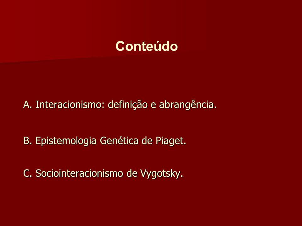 Conteúdo A. Interacionismo: definição e abrangência.