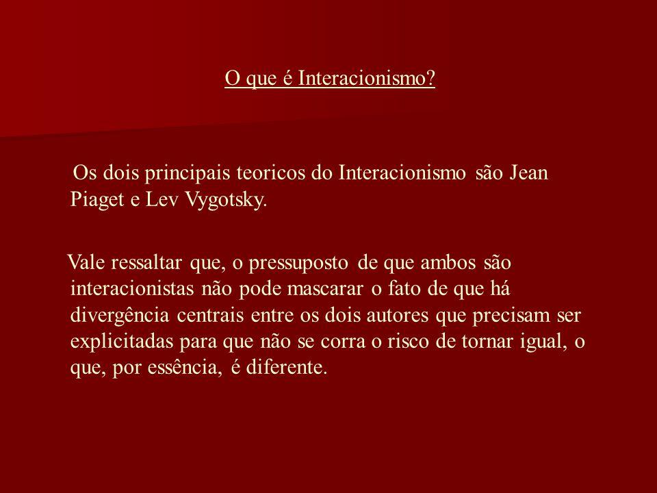 O que é Interacionismo Os dois principais teoricos do Interacionismo são Jean Piaget e Lev Vygotsky.