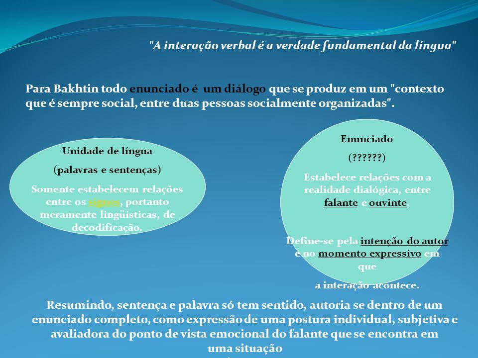 A interação verbal é a verdade fundamental da língua