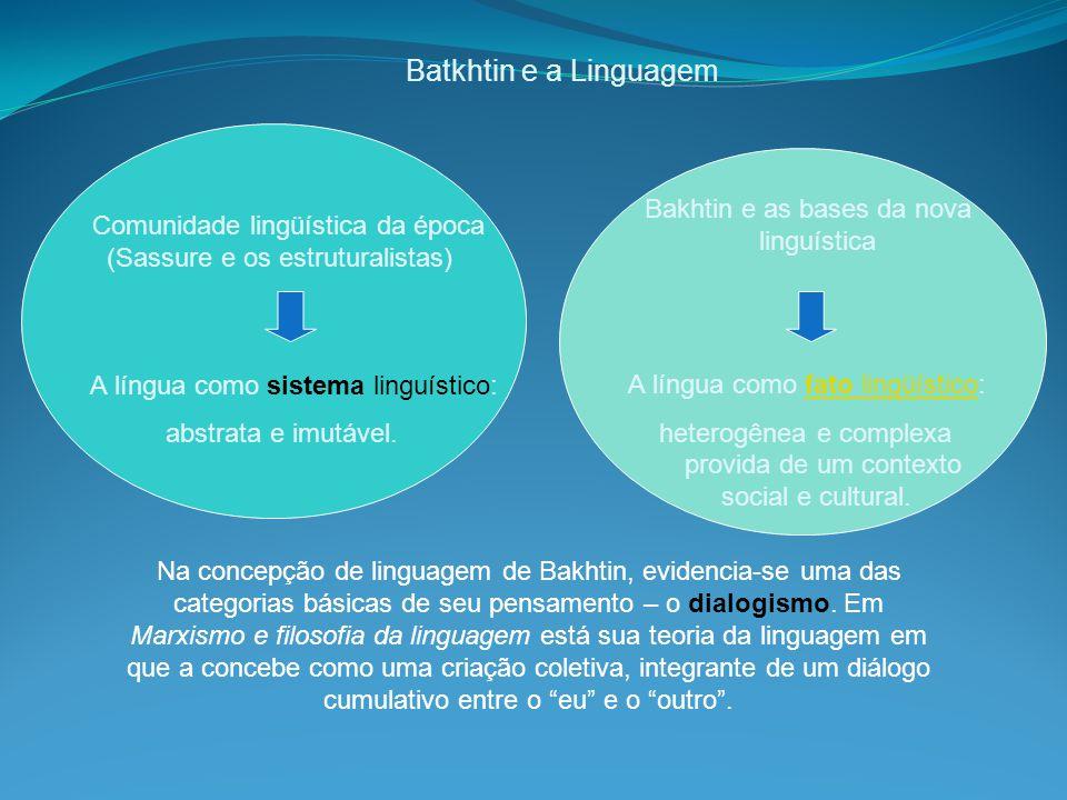 Batkhtin e a Linguagem Bakhtin e as bases da nova linguística