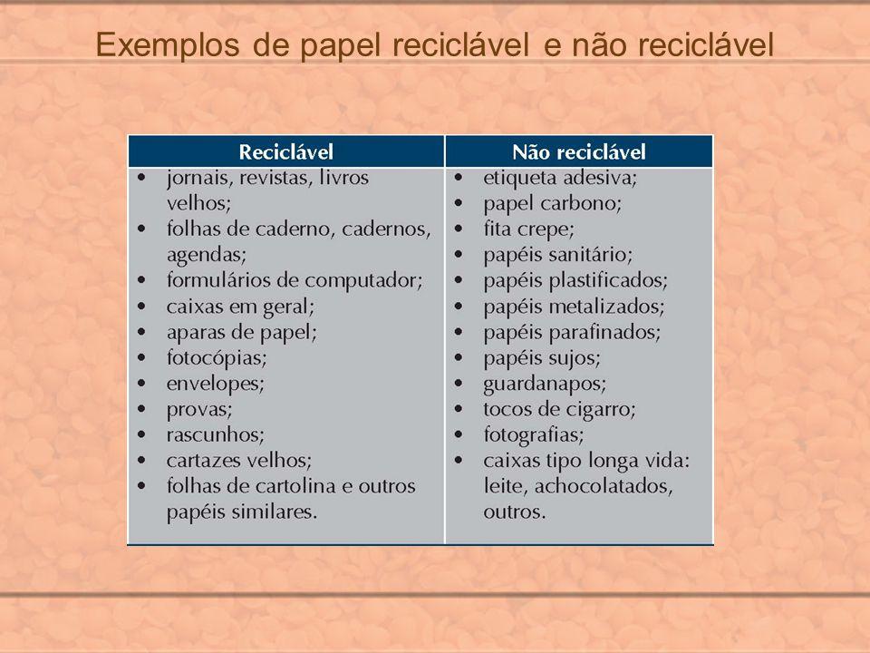Exemplos de papel reciclável e não reciclável