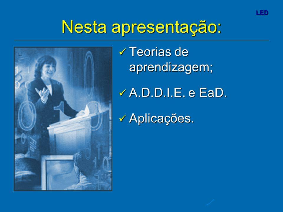 Nesta apresentação: Teorias de aprendizagem; A.D.D.I.E. e EaD.