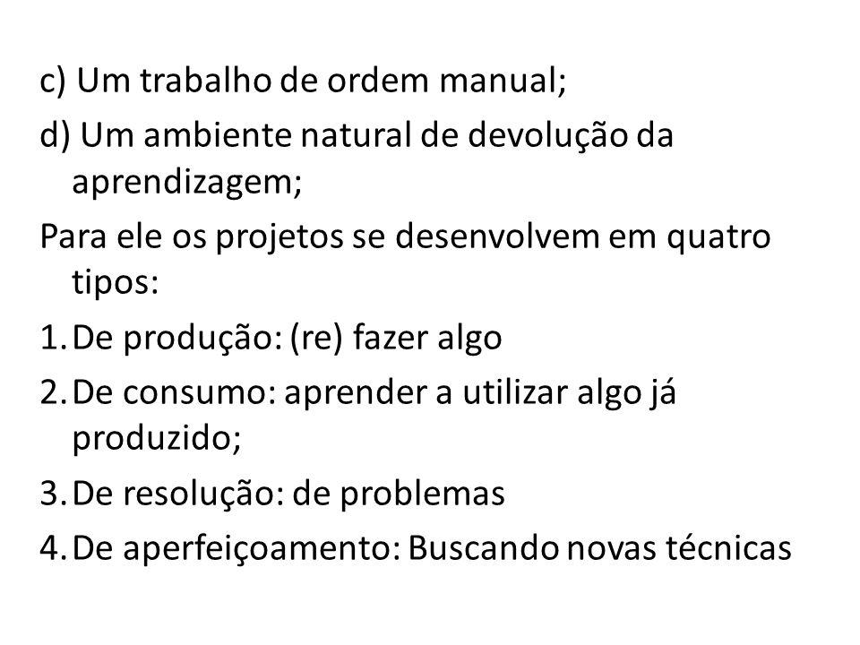 c) Um trabalho de ordem manual;