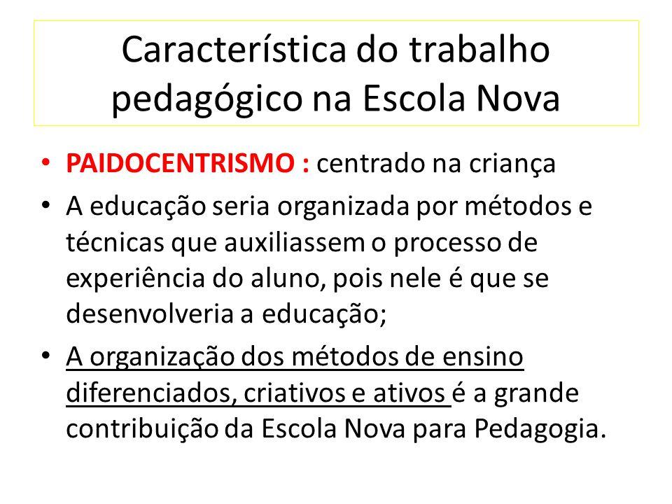 Característica do trabalho pedagógico na Escola Nova
