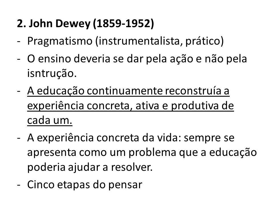2. John Dewey (1859-1952) Pragmatismo (instrumentalista, prático) O ensino deveria se dar pela ação e não pela isntrução.