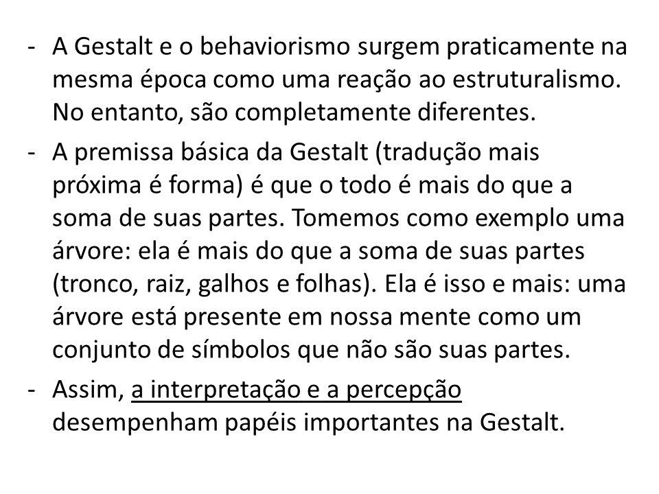 A Gestalt e o behaviorismo surgem praticamente na mesma época como uma reação ao estruturalismo. No entanto, são completamente diferentes.