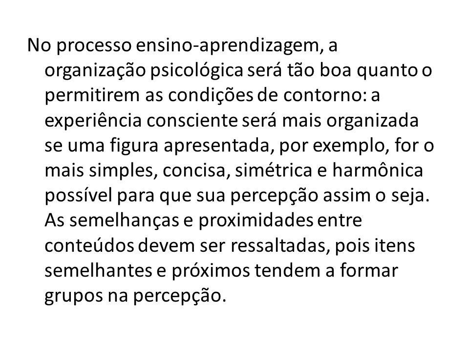 No processo ensino-aprendizagem, a organização psicológica será tão boa quanto o permitirem as condições de contorno: a experiência consciente será mais organizada se uma figura apresentada, por exemplo, for o mais simples, concisa, simétrica e harmônica possível para que sua percepção assim o seja.