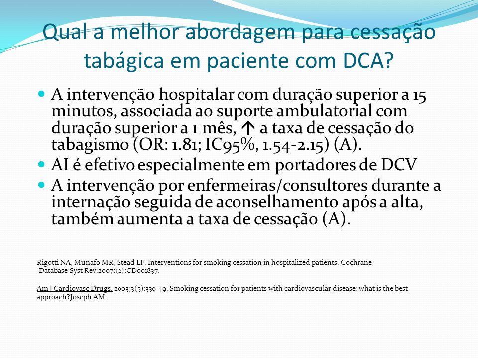 Qual a melhor abordagem para cessação tabágica em paciente com DCA