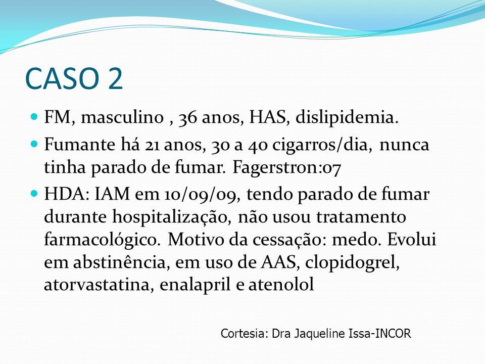 CASO 2 FM, masculino , 36 anos, HAS, dislipidemia.