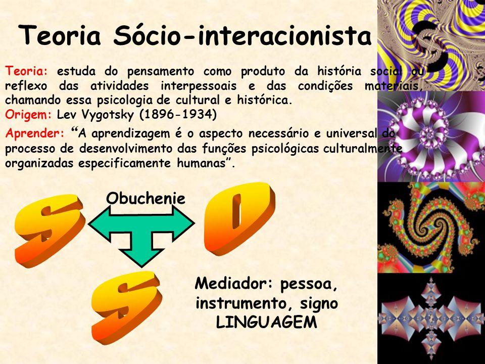 Teoria Sócio-interacionista Mediador: pessoa, instrumento, signo