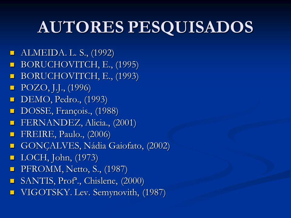 AUTORES PESQUISADOS ALMEIDA. L. S., (1992) BORUCHOVITCH, E., (1995)