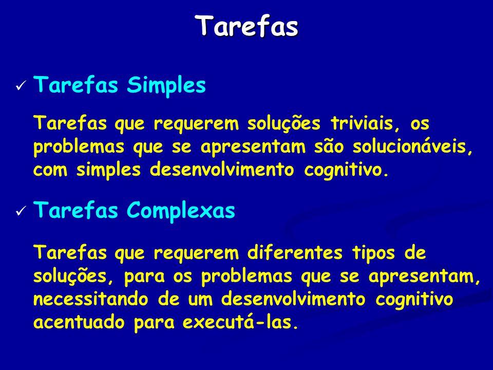 Tarefas Tarefas Simples Tarefas Complexas
