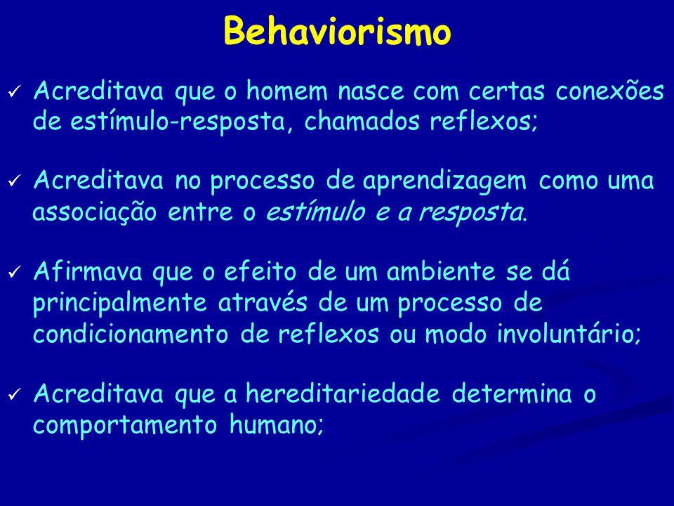 Behaviorismo Acreditava que o homem nasce com certas conexões de estímulo-resposta, chamados reflexos;