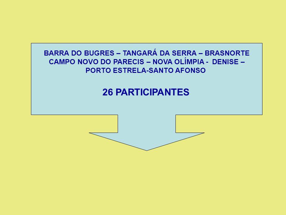 26 PARTICIPANTES BARRA DO BUGRES – TANGARÁ DA SERRA – BRASNORTE
