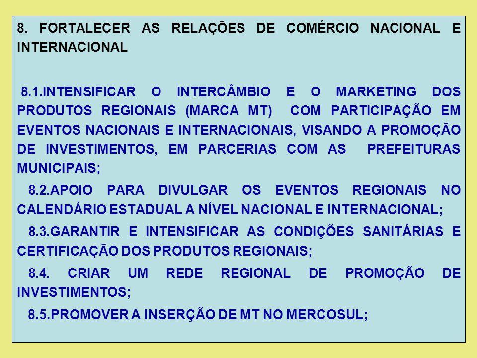8. FORTALECER AS RELAÇÕES DE COMÉRCIO NACIONAL E INTERNACIONAL