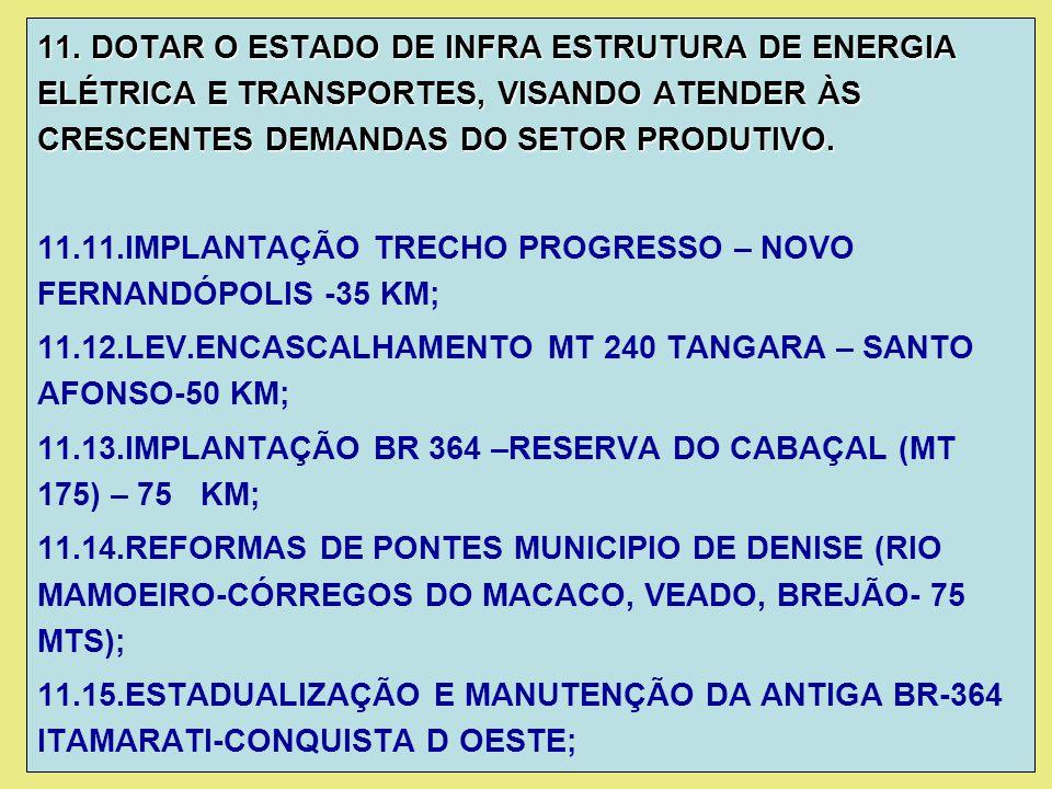 11. DOTAR O ESTADO DE INFRA ESTRUTURA DE ENERGIA ELÉTRICA E TRANSPORTES, VISANDO ATENDER ÀS CRESCENTES DEMANDAS DO SETOR PRODUTIVO.