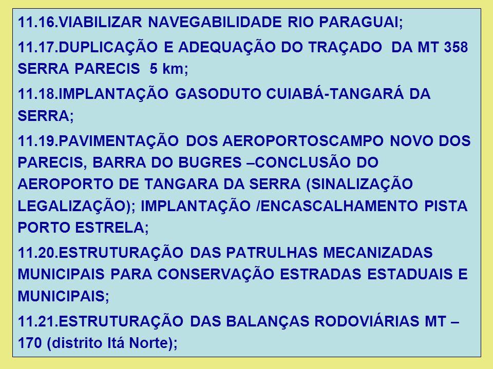 11.16.VIABILIZAR NAVEGABILIDADE RIO PARAGUAI;