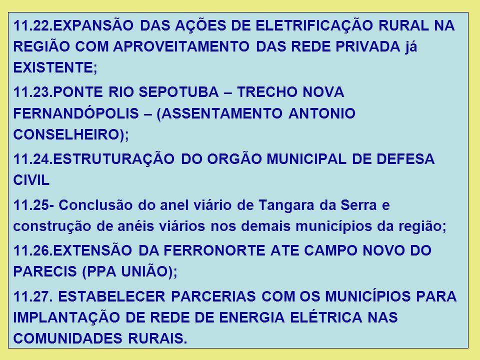 11.22.EXPANSÃO DAS AÇÕES DE ELETRIFICAÇÃO RURAL NA REGIÃO COM APROVEITAMENTO DAS REDE PRIVADA já EXISTENTE;
