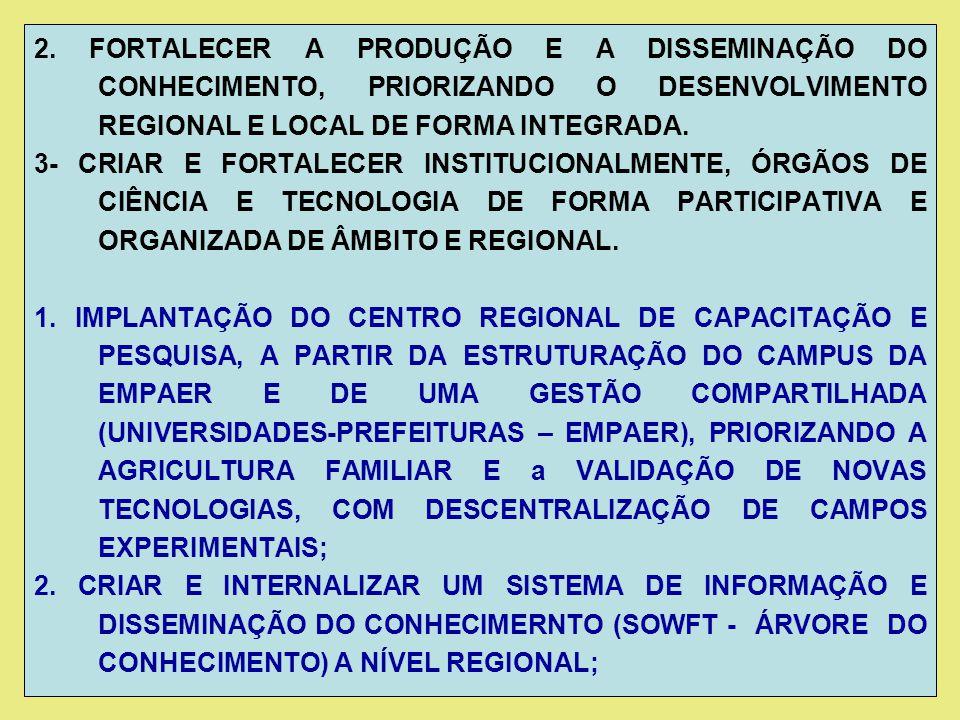 2. FORTALECER A PRODUÇÃO E A DISSEMINAÇÃO DO CONHECIMENTO, PRIORIZANDO O DESENVOLVIMENTO REGIONAL E LOCAL DE FORMA INTEGRADA.