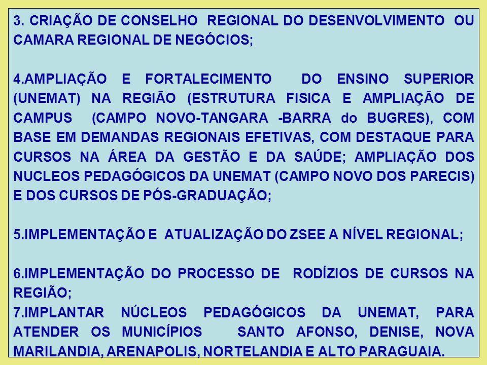 3. CRIAÇÃO DE CONSELHO REGIONAL DO DESENVOLVIMENTO OU CAMARA REGIONAL DE NEGÓCIOS;