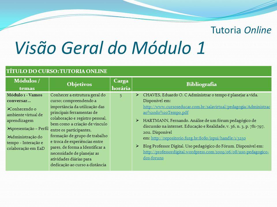 Visão Geral do Módulo 1 Tutoria Online TÍTULO DO CURSO: TUTORIA ONLINE