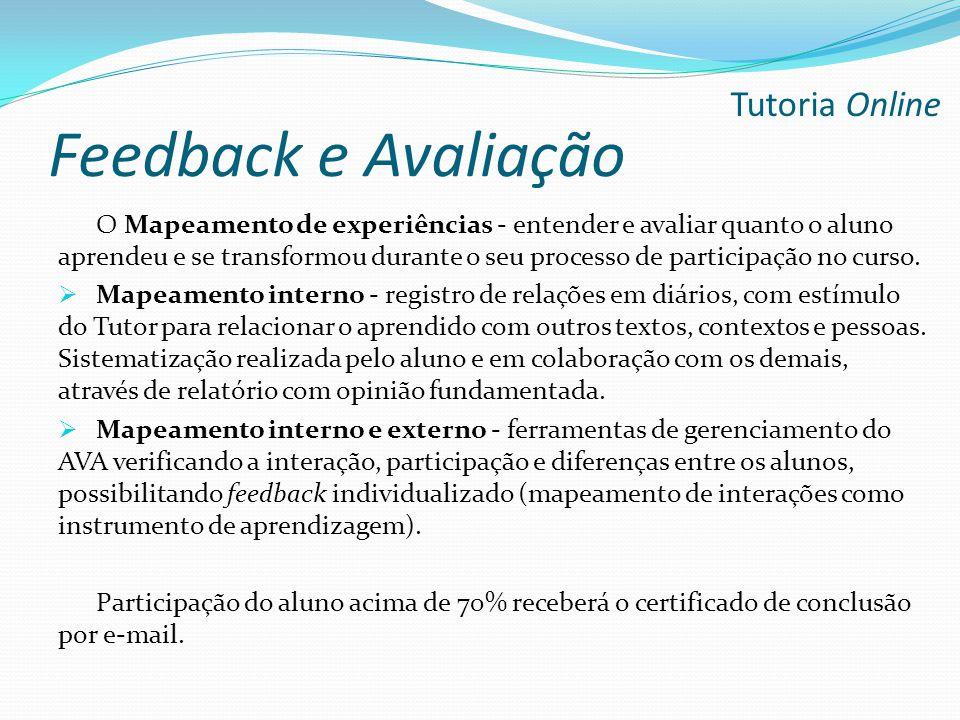 Feedback e Avaliação Tutoria Online