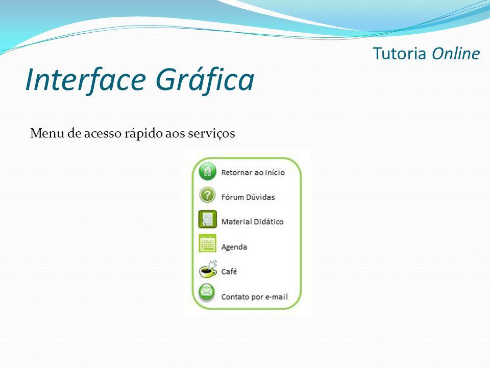 Interface Gráfica Tutoria Online Menu de acesso rápido aos serviços
