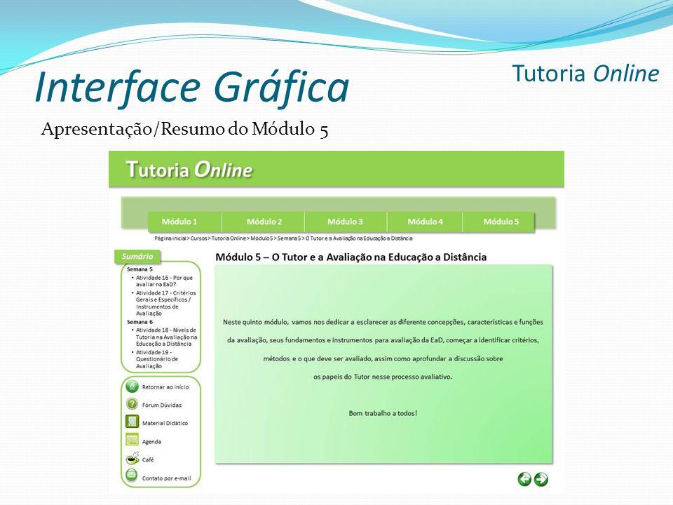 Interface Gráfica Tutoria Online Apresentação/Resumo do Módulo 5