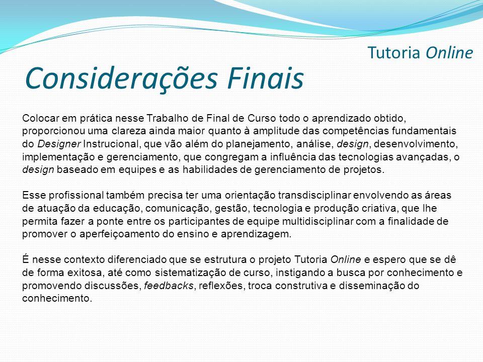 Considerações Finais Tutoria Online
