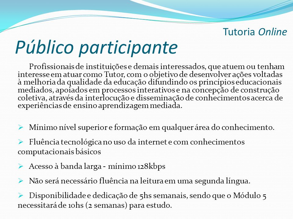 Público participante Tutoria Online