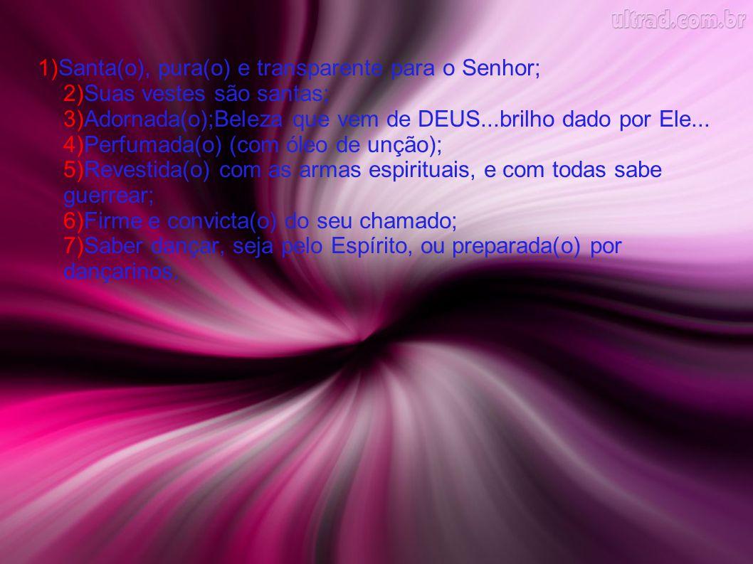 1)Santa(o), pura(o) e transparente para o Senhor; 2)Suas vestes são santas; 3)Adornada(o);Beleza que vem de DEUS...brilho dado por Ele...