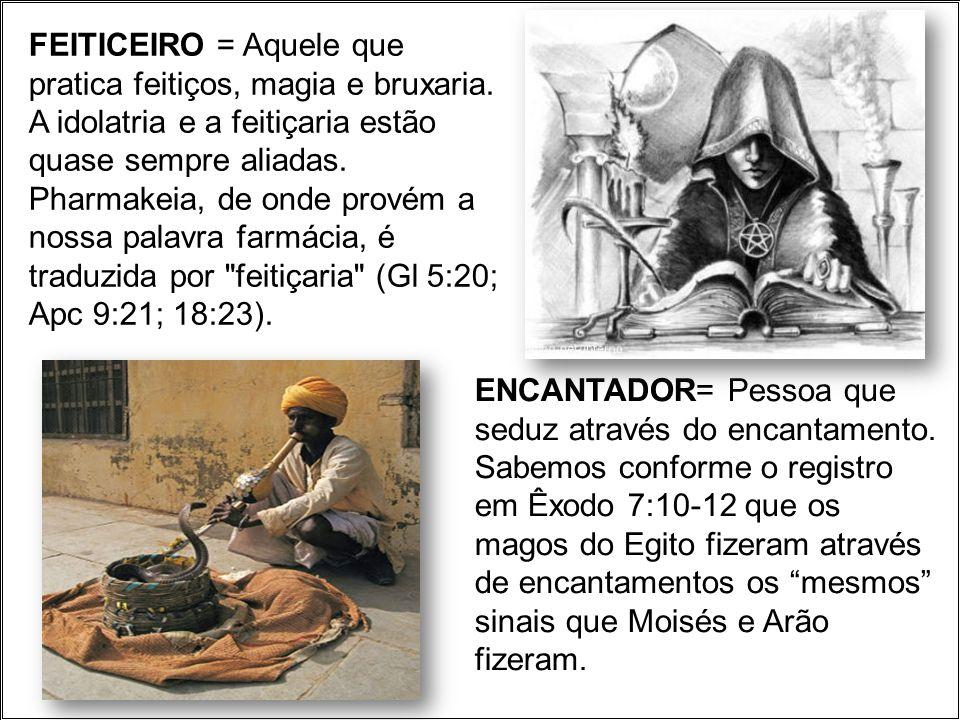 FEITICEIRO = Aquele que pratica feitiços, magia e bruxaria