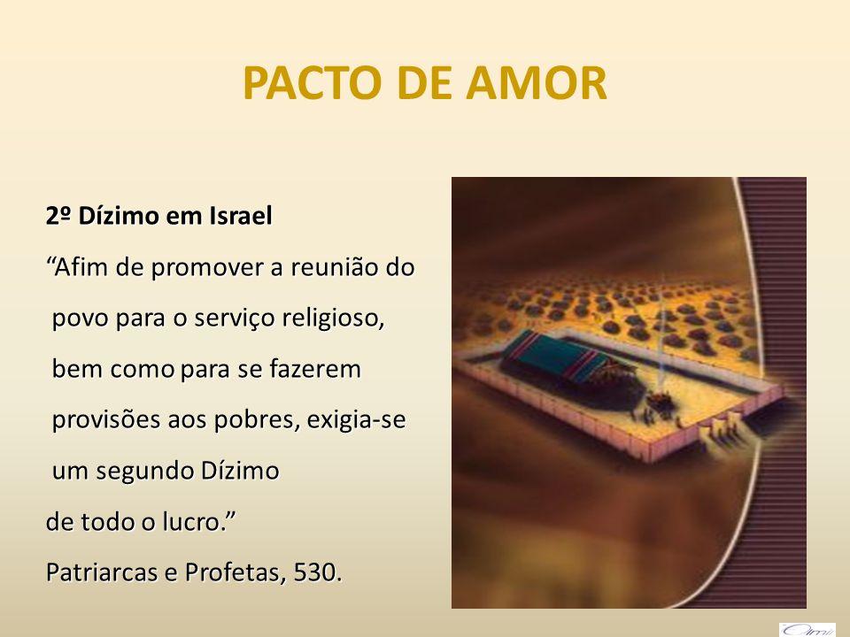 PACTO DE AMOR 2º Dízimo em Israel Afim de promover a reunião do