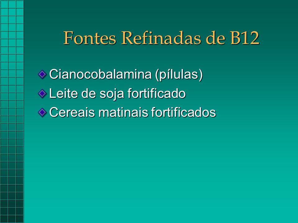 Fontes Refinadas de B12 Cianocobalamina (pílulas)