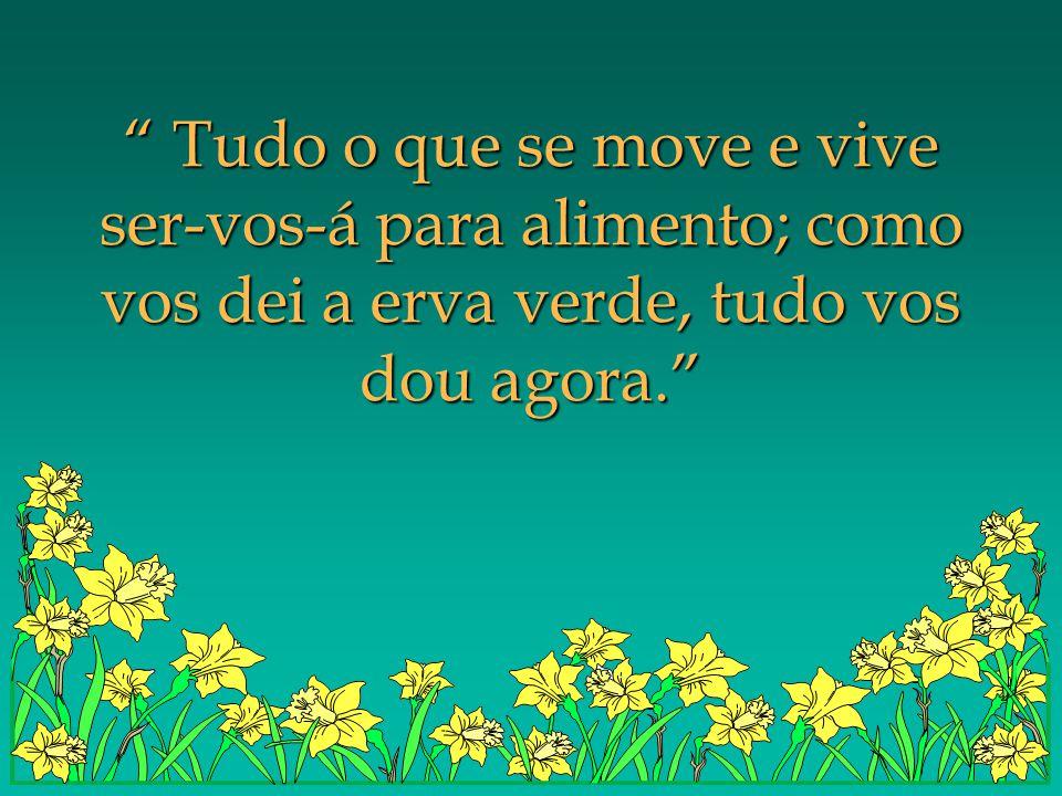 Tudo o que se move e vive ser-vos-á para alimento; como vos dei a erva verde, tudo vos dou agora.