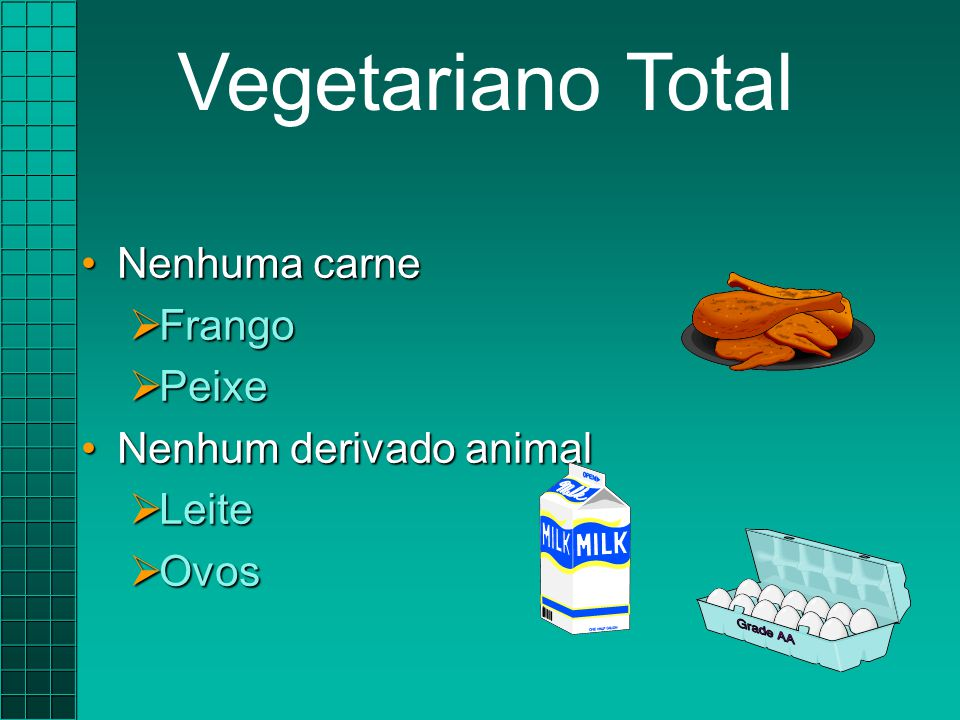 Vegetariano Total Nenhuma carne Frango Peixe Nenhum derivado animal