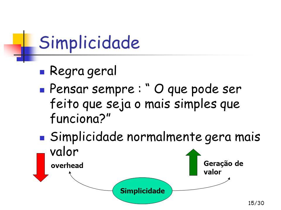 Simplicidade Regra geral
