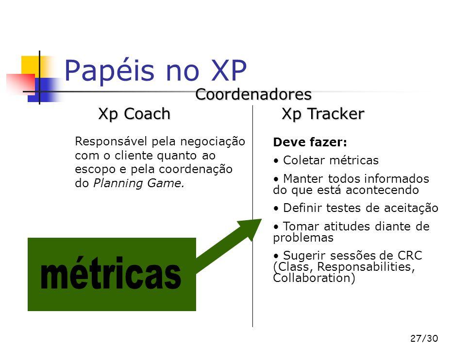 Papéis no XP métricas Coordenadores Xp Coach Xp Tracker