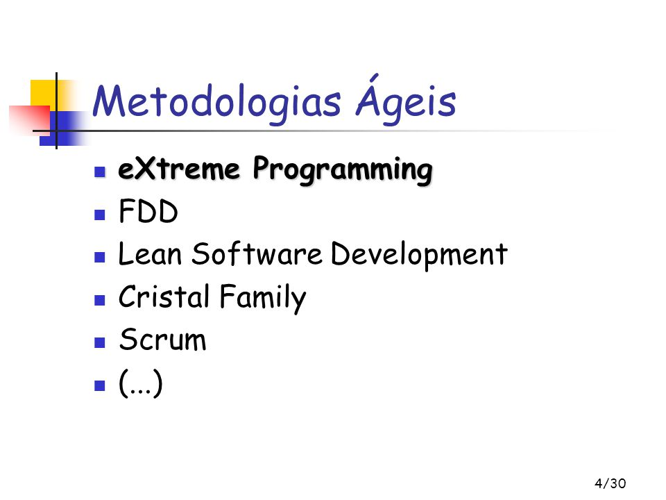 Metodologias Ágeis eXtreme Programming FDD Lean Software Development